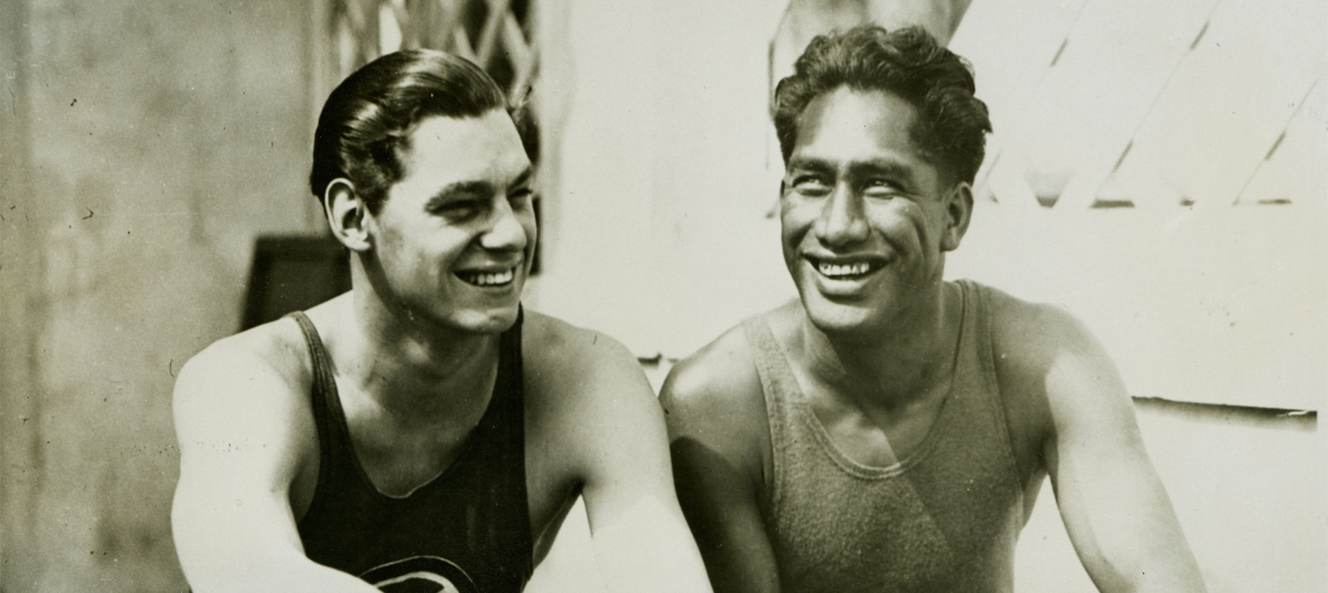 Duke Kahanamoku and a male