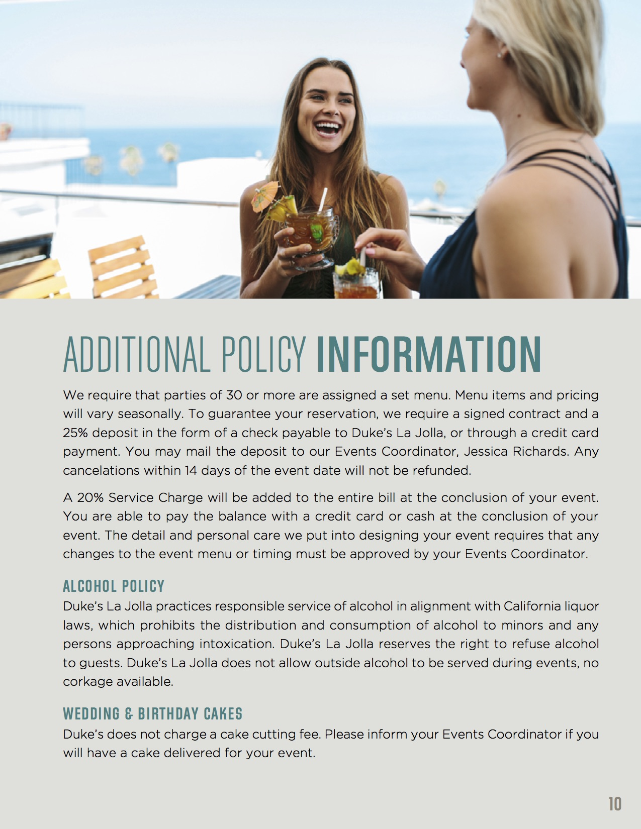 Additional policy information with two woman drinking on top half