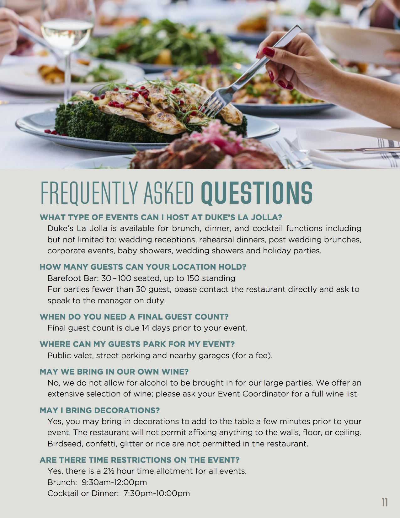 Frequently asked questions with image of woman eating off a plate