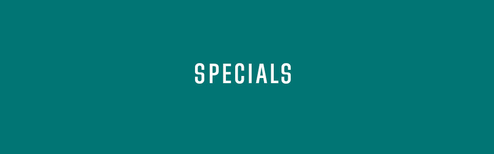 Specials on teal background
