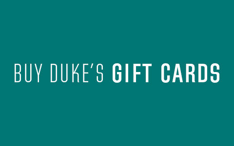 Buy Duke's Gift Cards on teal background