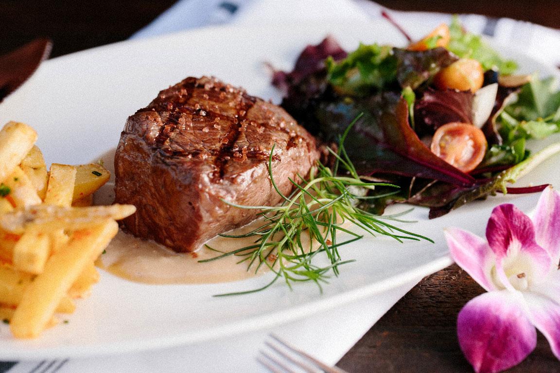 photo of a steak dinner